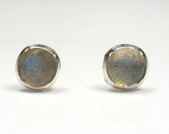 5mm round Labradorite  cabochon silver stud