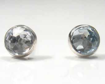 5mm rose cut  Blue Topaz  Cubic Zirconia, sterling silver stud.