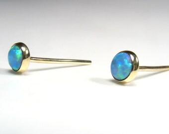 5mm round Lab Opal  cabochon, gold stud ,Solid Gold Earrings, Mother day earrings.