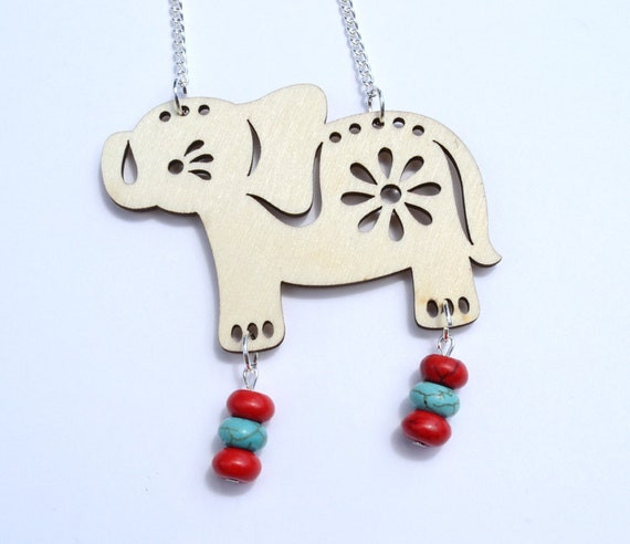 """SALE 28"""" Wooden Elephant with Red and Turquoise Howlite Necklace"""