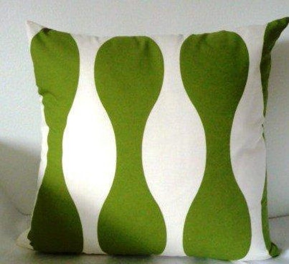 cushion cover green abstract   on cream background