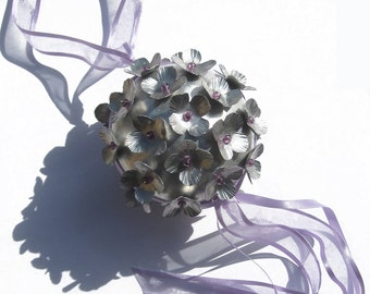 Wedding Pomander Bouquet  Kissing Ball Custom wedding bridal Metal bouquet Alternative bride Everlasting wedding flowers Purple ribbon beads