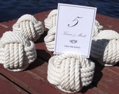 20 Nautical Wedding Table Number Holders - Rope Table Number Holders- cotton knots