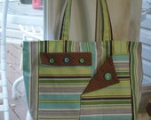 Blue Brown and Green Medium Size Bag