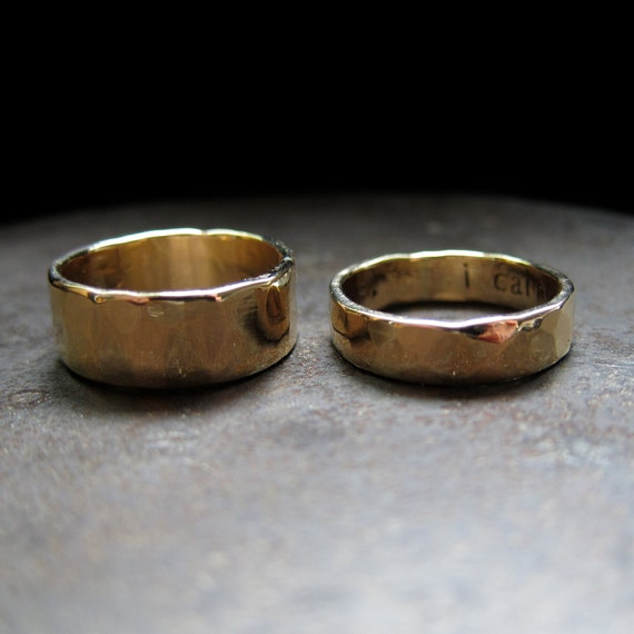 14k yellow gold custom wedding band set, 8 mm and 5 mm
