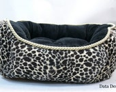 Doggie Bed Leopard Print and Black Minky fur