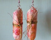 rosy pink canvas with antique gold ribbon handpainted canvas earrings