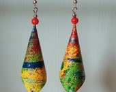 multicolour abstract handpainted canvas earrings