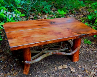 "Rustic Handmade Mountain Laurel and Red stained pine Coffee Cocktail 50"" Table Log Cabin Furniture by J. Wade"