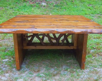 Rustic Modern Handmade Mountain Laurel and stained pine Coffee Cocktail Table Log Cabin Furniture by J. Wade