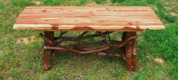 Rustic Handmade Mountain Laurel and Red Cedar Coffee Cocktail Table Log Cabin Furniture by J. Wade