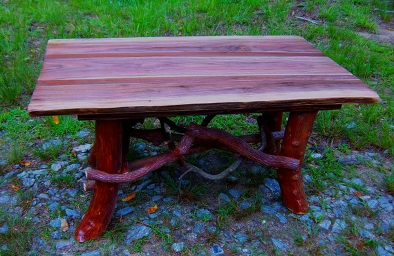 Rustic Handmade Mountain Laurel and black walnut Coffee Cocktail Table Log Cabin Furniture by J. Wade Free Shipping
