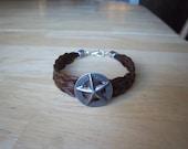 5 strand horse hair braid bracelet with western star concho