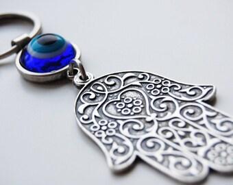 Hamsa Evil Eye Silver Keychain - KCS01