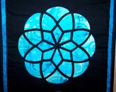 Stained Glass table runner/wallhanging: blues and black
