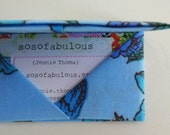 business card wallet gift card envelope credit card holder (vintage fabric origami turquoise dream)
