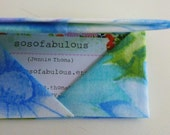 business card wallet gift card envelope credit card holder (vintage fabric origami dreamy daisy)