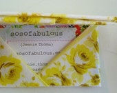 business card wallet gift card envelope credit card holder (vintage fabric origami antique yellow roses)