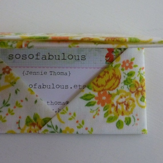 business card wallet gift card envelope credit card holder (vintage fabric origami yellow roses)