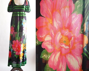1970's floral colourful maxi polyester summer dress