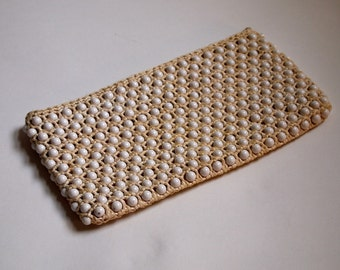 1960's white mod macrame beaded clutch bag