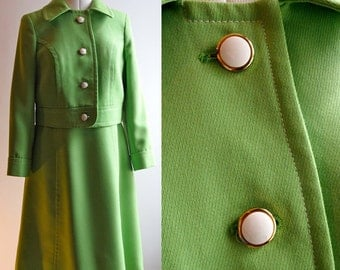 1960's pea green Trevina sleeveless dress and jacket suit, label Mark Stevens, size 12