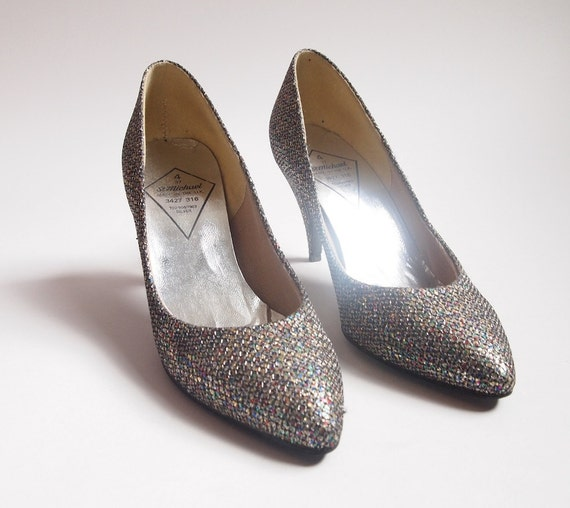 Silver/glittery stilettos, late 1980's, size 4,  M&S own label St Michaels, perfect condition