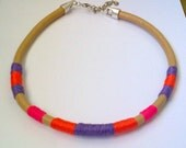 Leather chocker necklace with summer colour yarns, free shipping