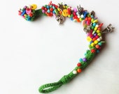 Green Summer---Rainbow Color Beads & Buttons Crocheted  Bracelet