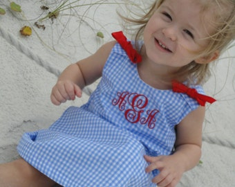 Custom Boutique Monogrammed Baby and Girls beach dress made with blue gingham and red monogram