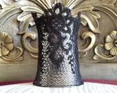 Lace vintage black & Silvertone Metal Cuff Bracelet