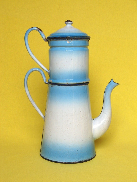 RESERVED for Janine - Vintage French Enameled Coffee Pot Biggin
