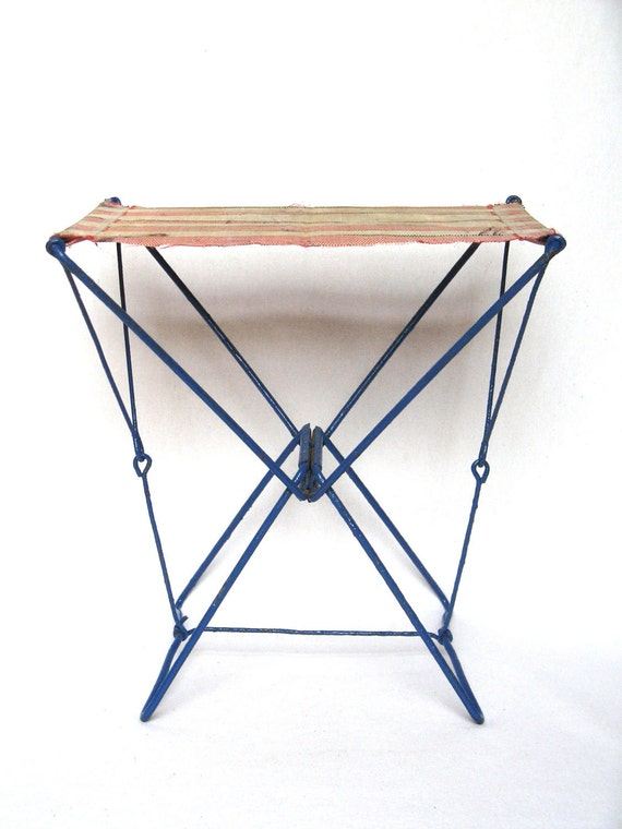 Authentic French Vintage Fisherman's Stool from the 1950s-1960s, full of country charm