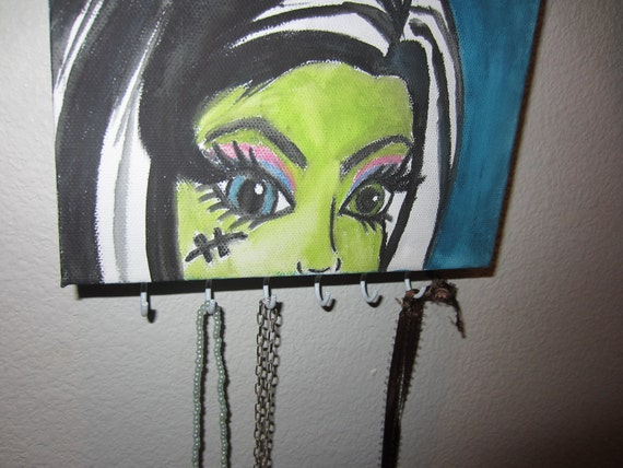 5x7 Monster High water color jewelery hanger on canvas