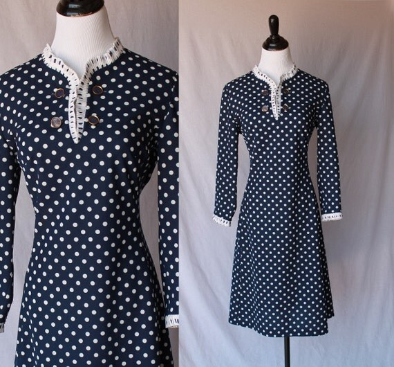 60s Blue and White Ruffled Dress