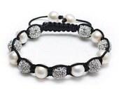 Beautiful Swarovsksi Crystal and real pearls beaded bracelet