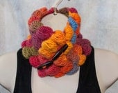 Colorful Walnut Stitch Cowl made with 100% Wool from Iceland