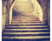 Mysterious Arched Stairway - Photograph of German Medieval Stone Architecture with Warm Vintage Feel and Haunting Light - 15x20cm