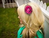 Grey and hot pink flower headband