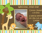 Jungle Animals Baby Birth Announcement