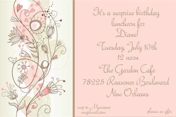 Items similar to birthday luncheon invitation adult on etsy stopboris Image collections