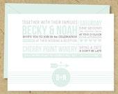 DIY PRINTABLE - Wedding Invitation & RSVP Set - Modern Vintage Typography