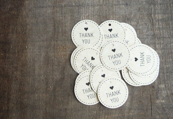 "30 -  1.5"" Wedding Favor Thank You Tags - VINTAGE PAPER"