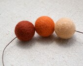 Organic wool jewelry/ Felt necklace/  BOHO chic / Needle felted beads / Sandybrown, orangered and reddish brown