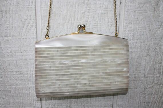 Vintage Pearl Lucite Purse