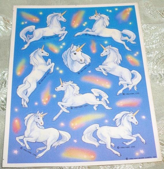 Vintage 1984 Hallmark Unicorn Shooting Star Sticker Sheet