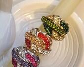 Gold Ring, Vintage Ring, Adjustable Ring, Multicolor Rhinestone Vintage Cocktail Ring, Silver ring
