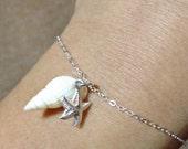 Dainty Bracelet, Feminine Bracelet, Ocean and Beach Inspired Bracelet, Sterling Silver Charm Bracelet