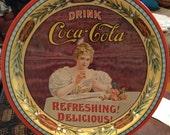 COCA COLA TRAY - Unique 75th Anniversary Coca-Cola Round Serving Tray