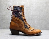 Vtg 80s Camel Leather Tapestry Lace Up Roper Boots 7 M